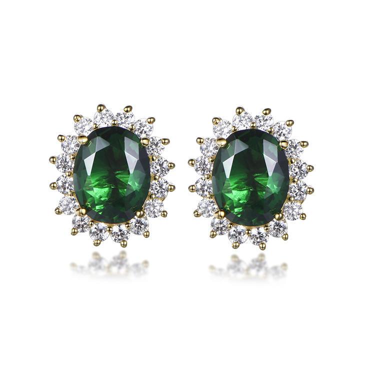 Luxury green gemstone oval zircon stud charming noble choice
