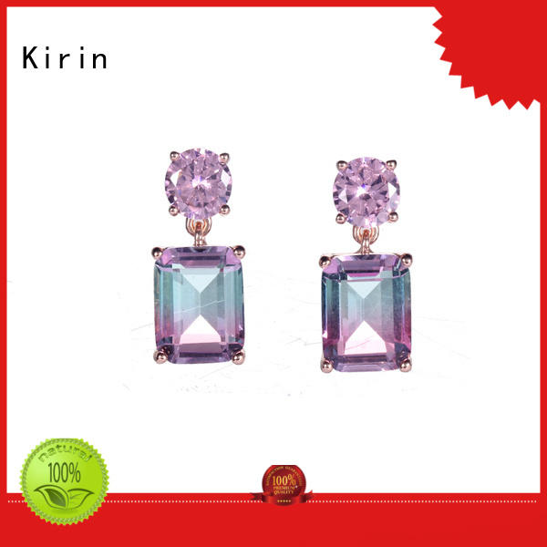 Kirin handmade white gold stud earrings with cheap price for partner