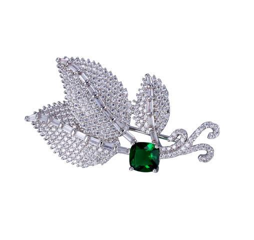 Kirin Jewelry -Best Silver Pin Fine Leaf Cubic Zirconia Brooch Emerald Pin Brooch For