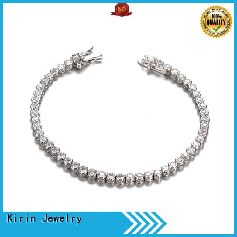 Ladies Cubic Zirconia Tennis Bracelets Clear White Gold Plated for Women Girls 61942 Kirin Jewelry
