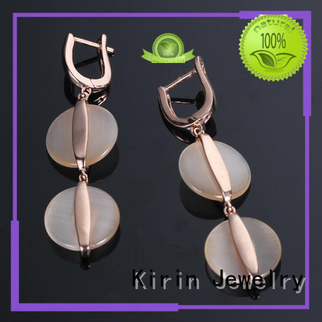 cz gold jewellery earrings heart opal Kirin Jewelry Brand