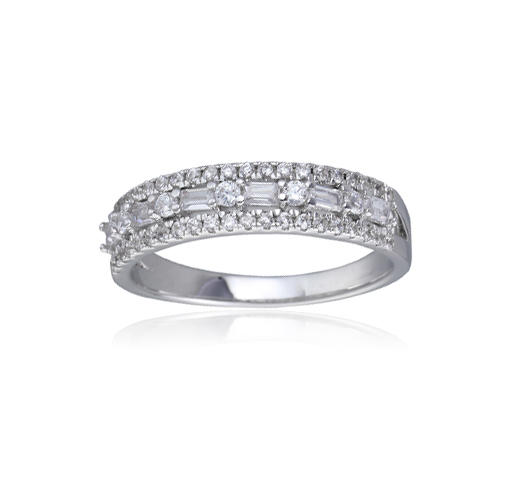 Kirin Jewelry -925 Sterling Silver Baguette Round Cubic Zirconia Cz Eternity Band Ring