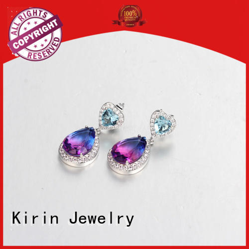 rose rhodium 925 sterling silver earrings stud promise Kirin Jewelry company
