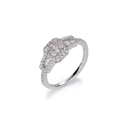 Kirin Jewelry -Emerald Cut Ring Baguette 3 Stones Cubic Zirconia Cz Engagement Sterling