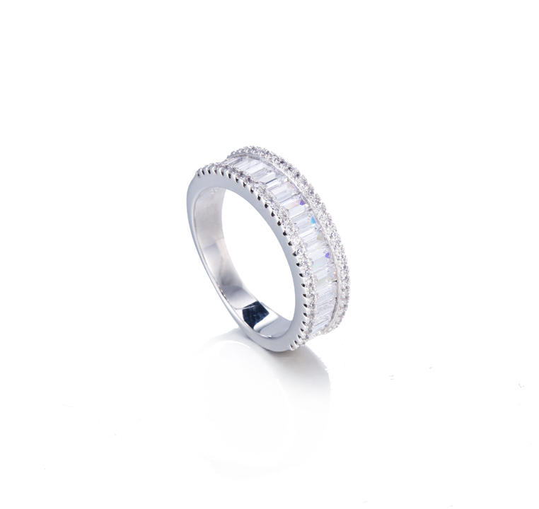 Kirin Jewelry -Sterling Silver Adjustable Rings, Sterling Silver 925 Baguette Cz Channel