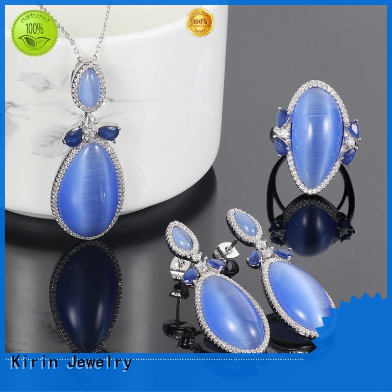 925 silver jewelry set blue cat eye jewelry rings pendants earrings for women 83207