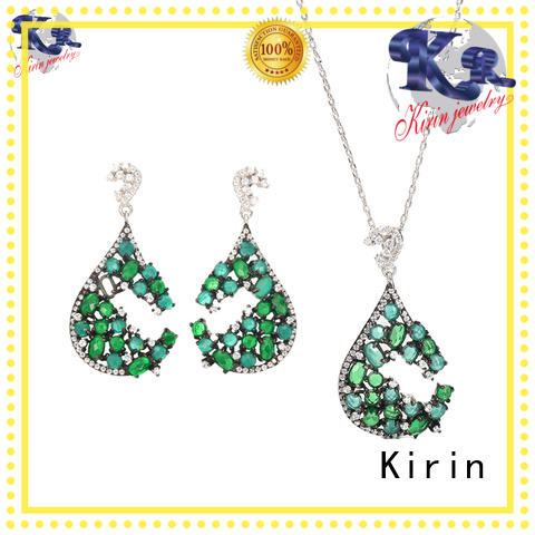 Kirin drop pink and silver jewelry sets bulk production for family