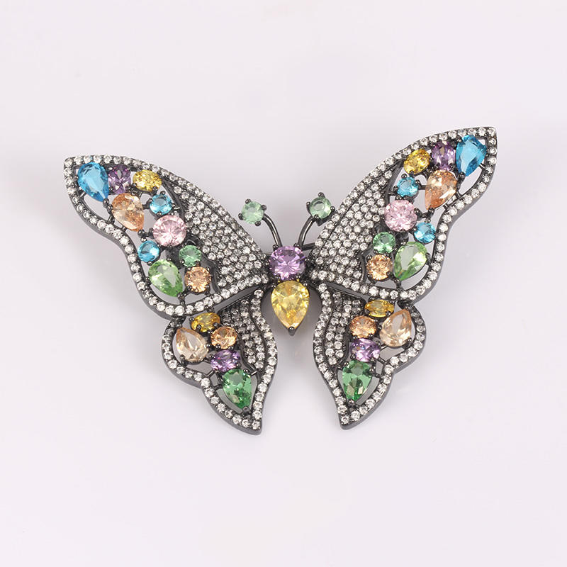 Kirin Jewelry -Beautiful Color Stone Butterfly Brooch 925 Silver Jewelry For Women