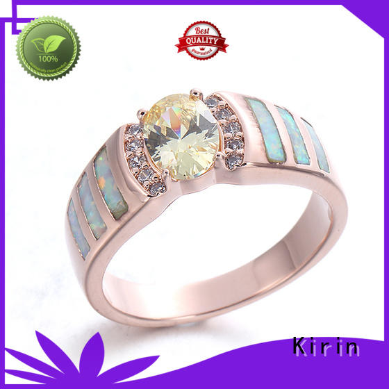 Kirin czstudded sterling silver thick band ring from China for family