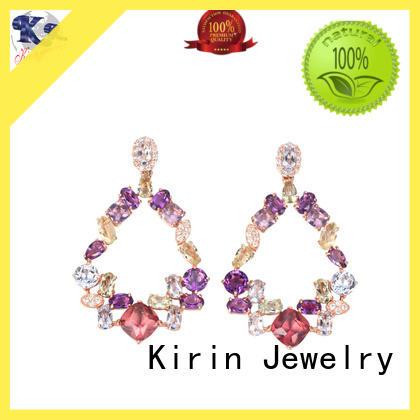Kirin Jewelry superb hoop stud earrings prong for girl