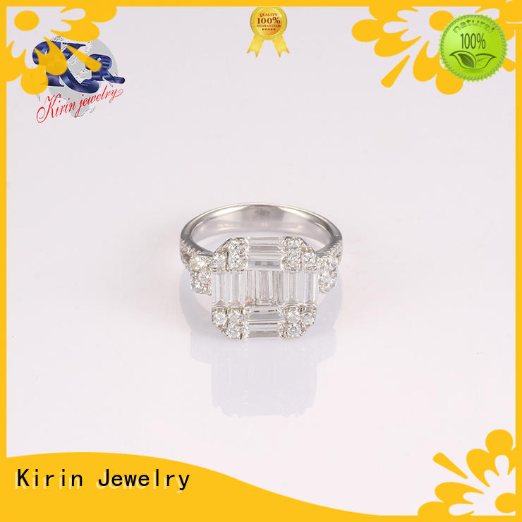 plain silver band ring stone for mom Kirin Jewelry