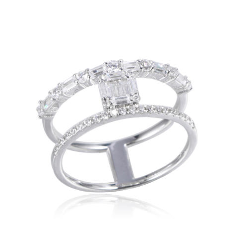 Kirin Jewelry -Professional Sterling Silver Adjustable Rings Baguette Style Ring Manufacture