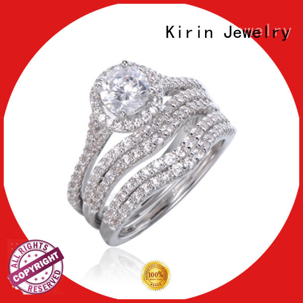 Kirin cocktail silver band ring with stones bulk production for family