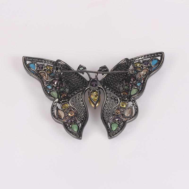 Kirin Jewelry -Beautiful Color Stone Butterfly Brooch 925 Silver Jewelry For Women-1