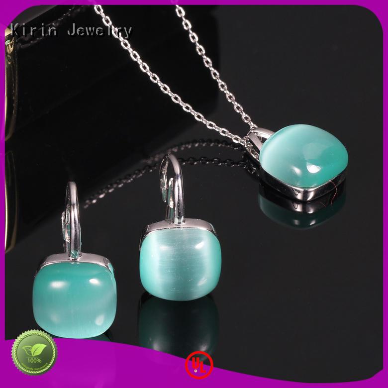 925 silver jewelry set cat eye stone rhodium plated earrings pendant Kirin Jewelry 86050