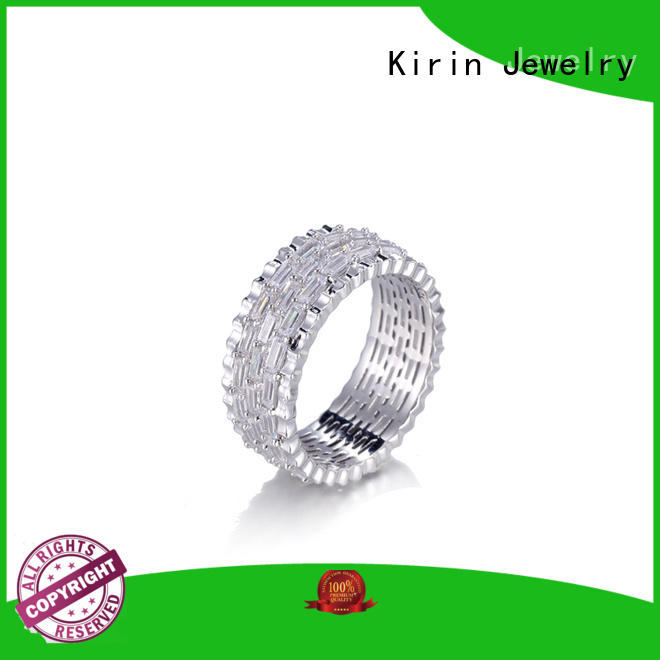 Kirin stackable wide silver band ring bulk production for mom