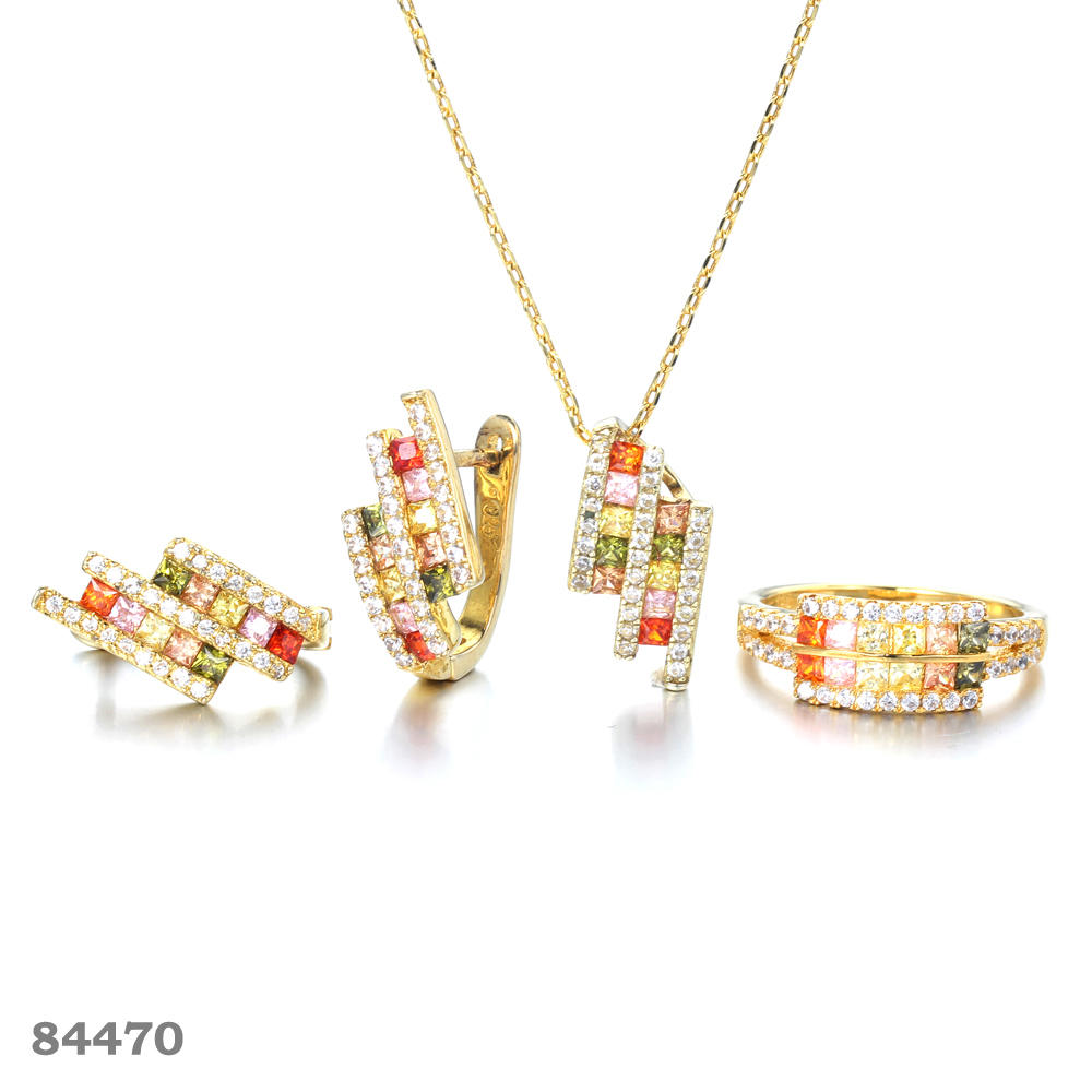 Kirin triangle rainbow sapphire necklace wholesale for woman-1