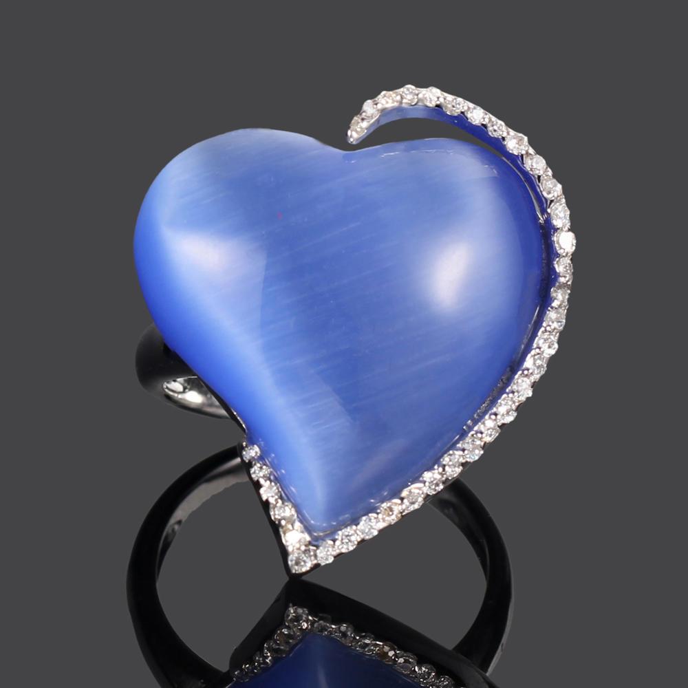 Kirin Jewelry -Find Pure Silver Jewellery 925 Silver Jewelry Set Blue Cat Eye Heart-1