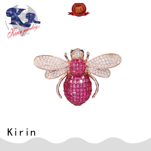 Kirin plated sterling silver safety pin brooch supplier for girlfriend
