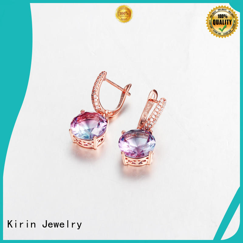 Kirin dangle rose gold earrings by Chinese manufaturer for mate