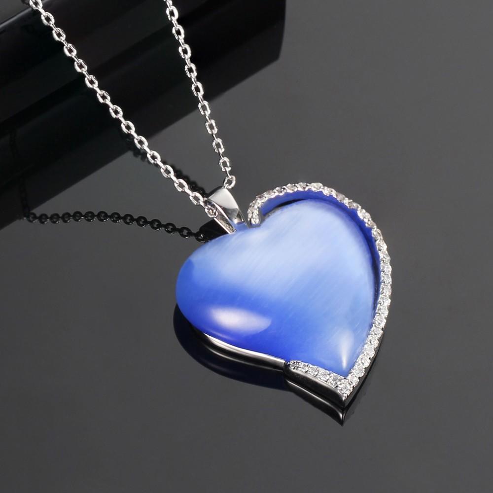Kirin Jewelry -Find Pure Silver Jewellery 925 Silver Jewelry Set Blue Cat Eye Heart