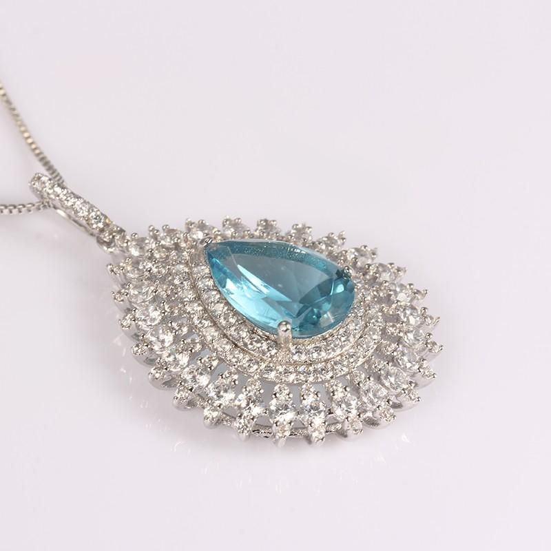 Kirin Jewelry -Manufacturer Of Sterling Silver Necklace Chain Blue Zircon Big Stone Sterling