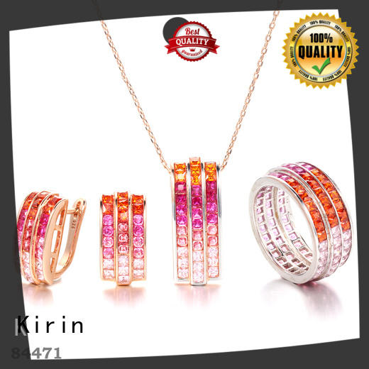 charming rainbow gemstone necklace rings with many colors for girlfriend