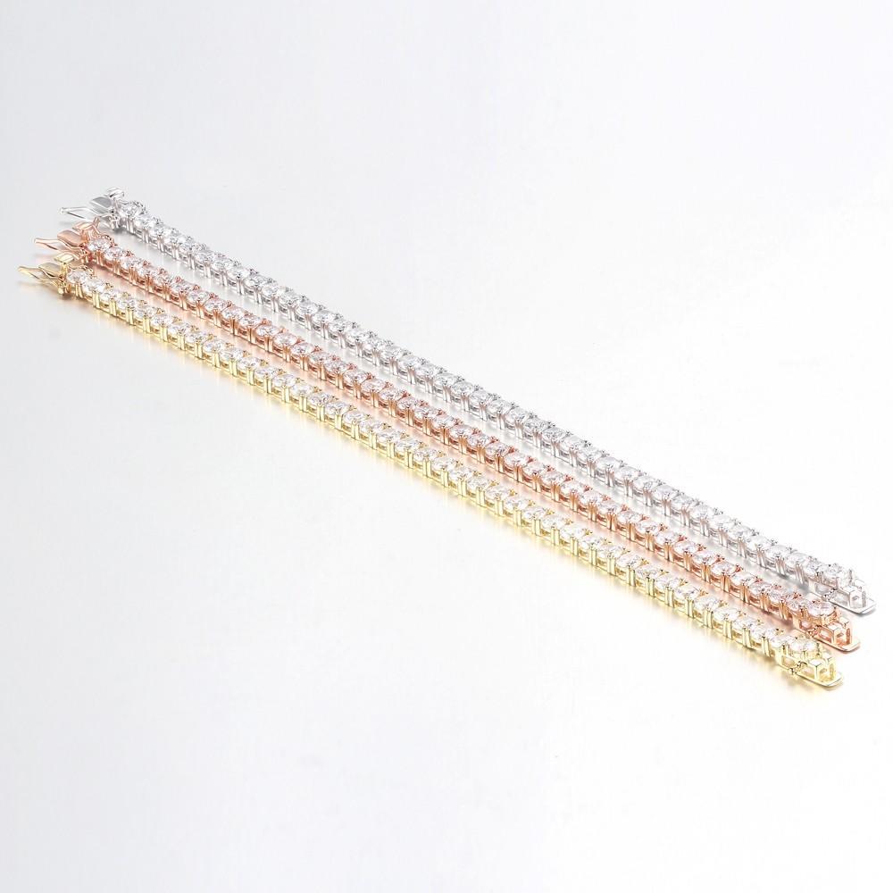 Wholesale Women Fashion 925 Sterling Silver Round Cut Cubic Zirconia Tennis Bracelet Bangles 60072-1