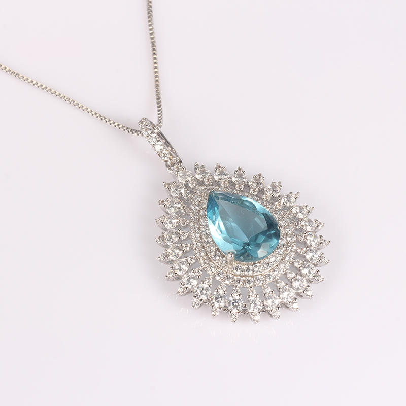 Kirin Jewelry -Manufacturer Of Sterling Silver Necklace Chain Blue Zircon Big Stone Sterling-1