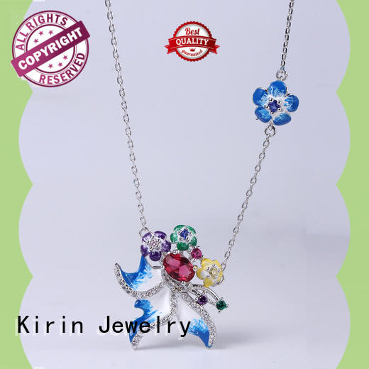 Kirin zirconia 925 silver necklace set bulk production for girl