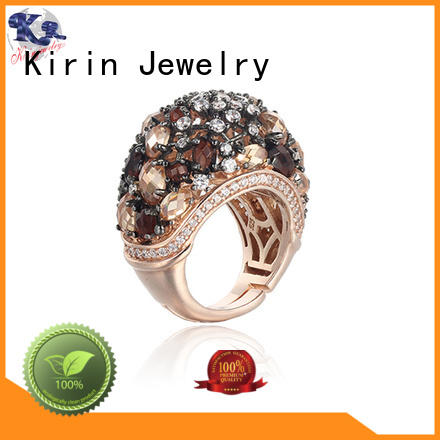 104480 women's wide band silver rings diamond for family Kirin Jewelry