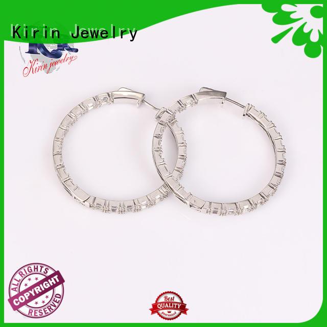 sterling silver hoop earrings small zircon for mate Kirin Jewelry