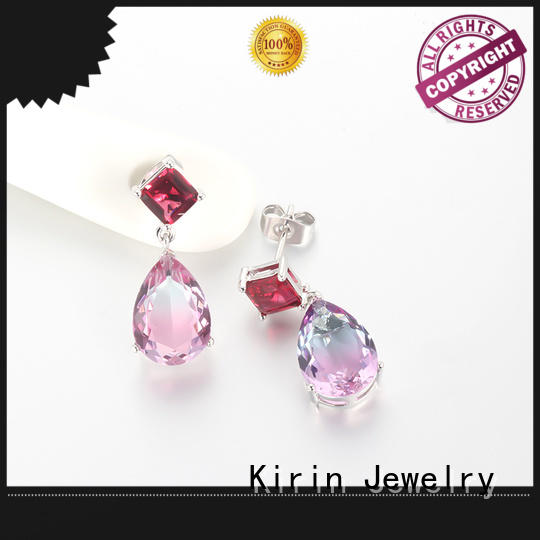 rose zirconia gold jewellery earrings Kirin Jewelry manufacture