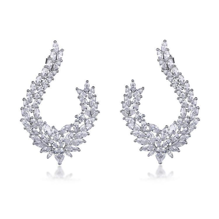 Factory Custom Quality Feather - Shaped Shiny Cubic Zircon Earrings