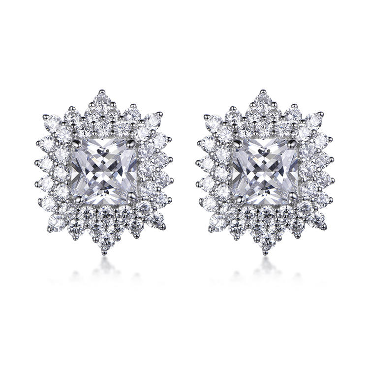 Elegant 925 Sterling Silver Simple Round Stone Shine Stud Earrings