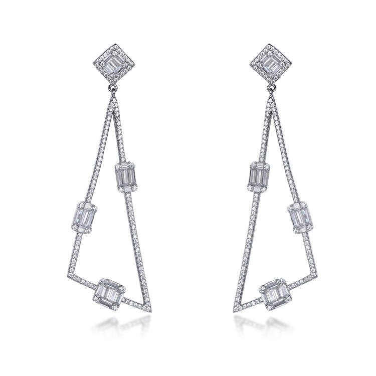 Fashion White Gold Plated Triangle Shape Zircon Hang Sterling Silver Earrings