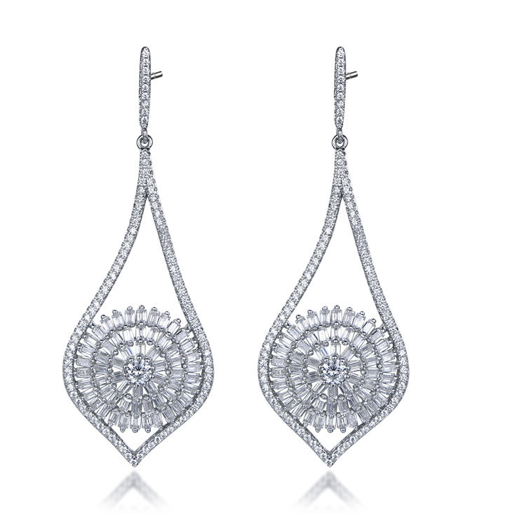 Sell Well Western Style Elegant Pave Zircon 925 Sterling Silver Pendant Earrings For Party Girl