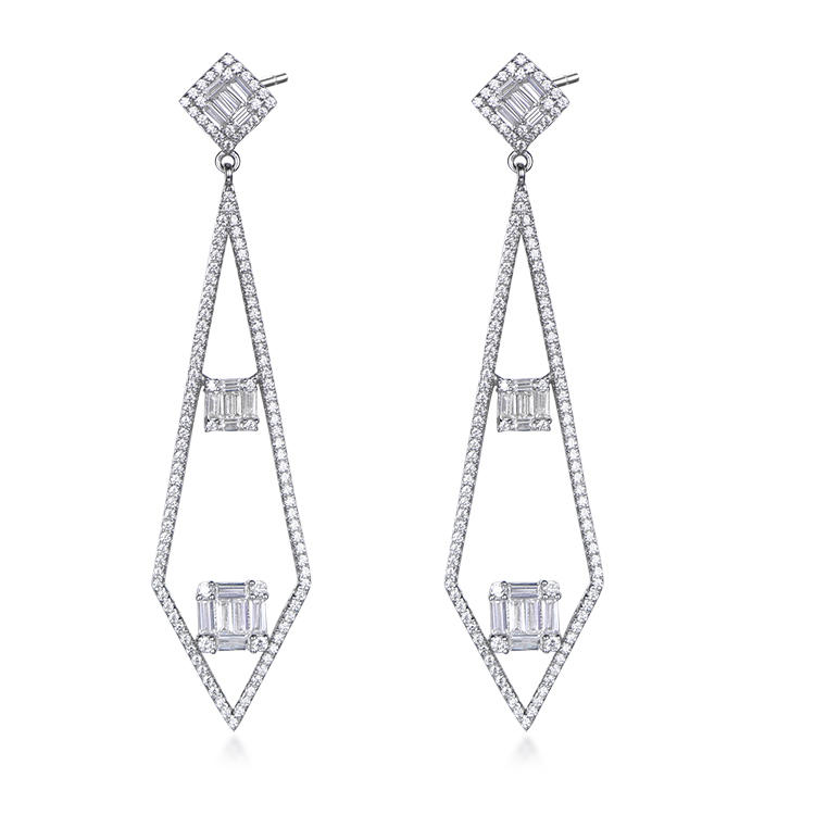New rhomb-shaped temperament s925 sterling silver earrings women fashion platinum-plated european and american silver earrings