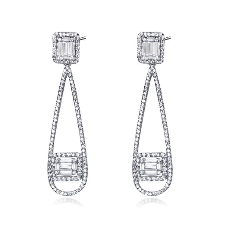 Delicate Temperament S925 Sterling Silver Earrings Rhodium Plated European And American Silver Earrings