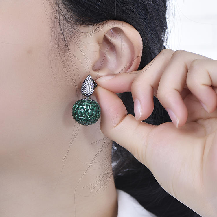 Manufacturers Wholesale Indian Gem Invisible Setting 925 Sterling Silver Round Earrings