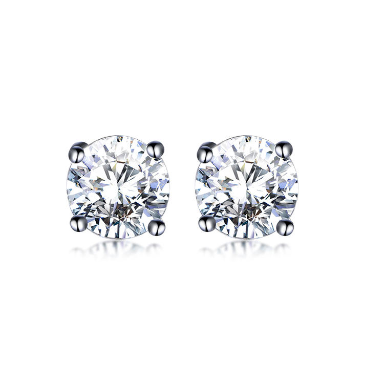 Kirin Rhodium Plated 925 Sterling Silver Cubic Zirconia Cz Earrings Stud Earrings