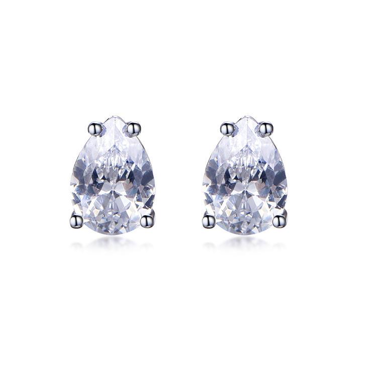 Simple Design Rhodium Plated Water Drop Zircon Earring