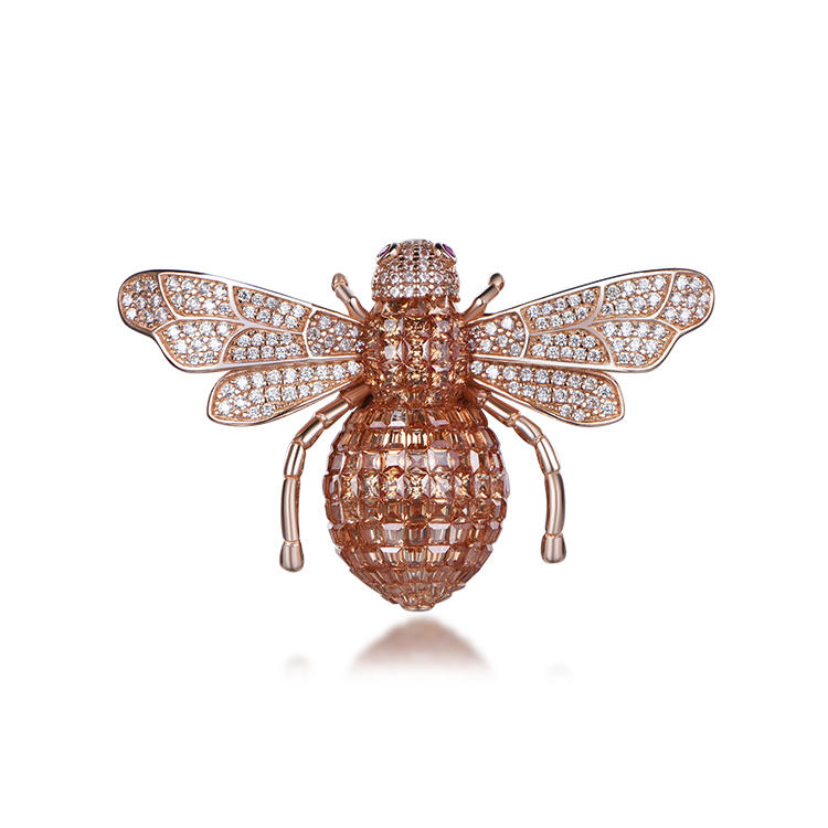Factory Wholesale Fashion Bee - Shaped Purple Invisible Setting Brooch With Crystal