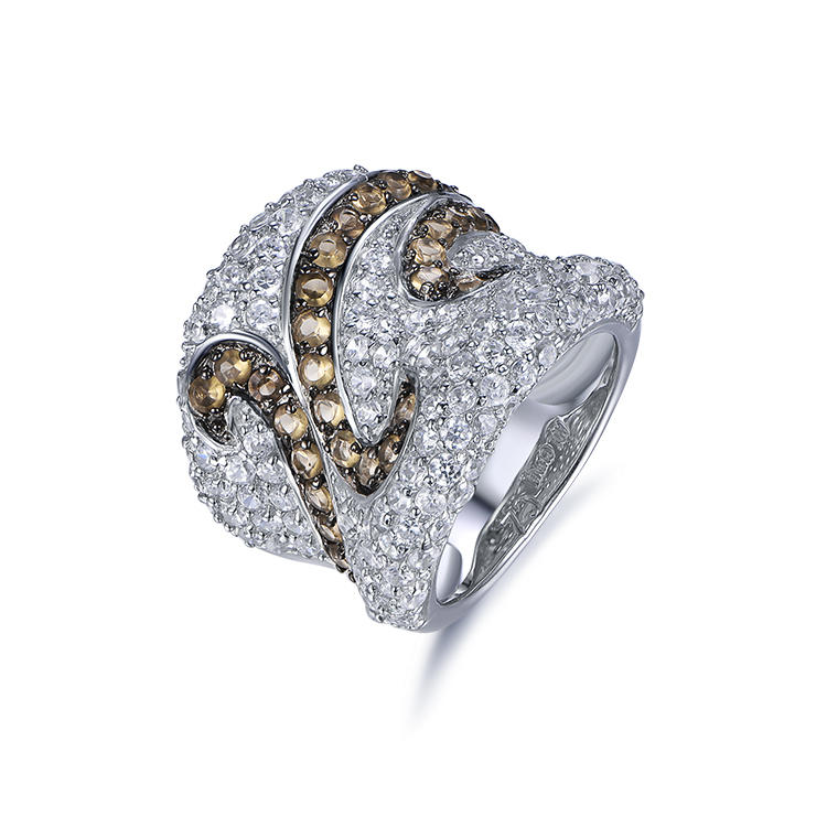 Dubai Royal Noble Breeze 925 Silver Thick Zircon Ring