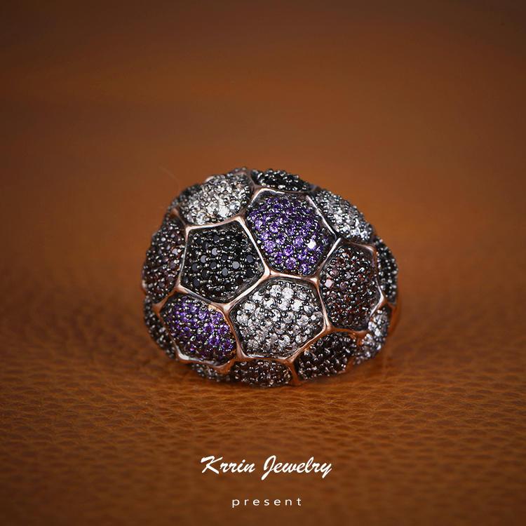 Support Custom Dark Purple Rings CZ Cubic Zircon Invisible Setting Circular Ring