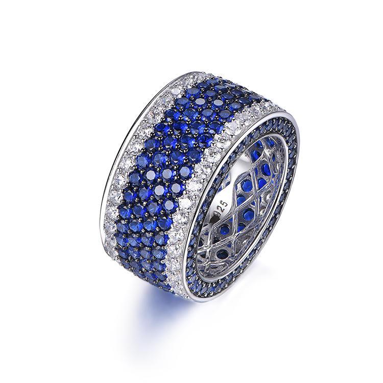 New luxury blue zircon precision custom unisex silver thick ring for men women