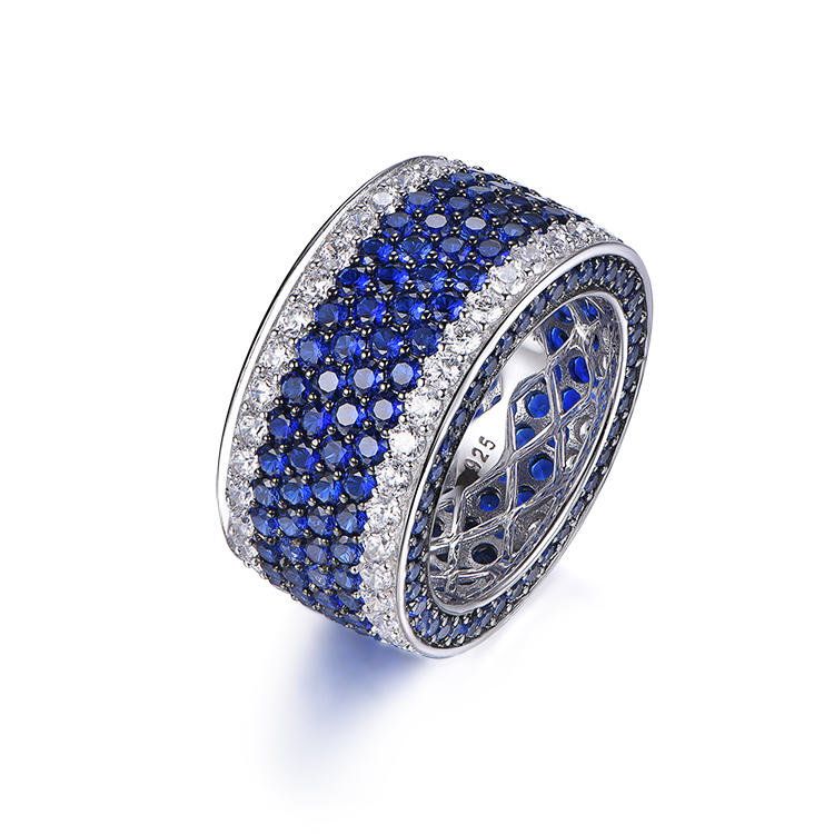 New luxury blue zircon precision custom unisex silver thick ring for men women
