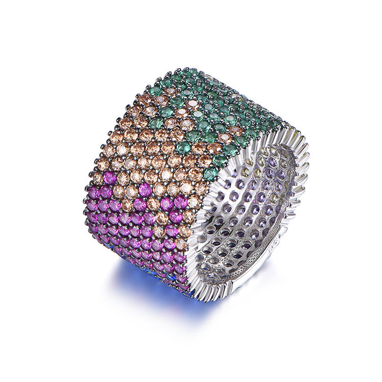 Colorful CZ Cubic Zircon Invisible Round Shape Classic Rings For Women Jewelry