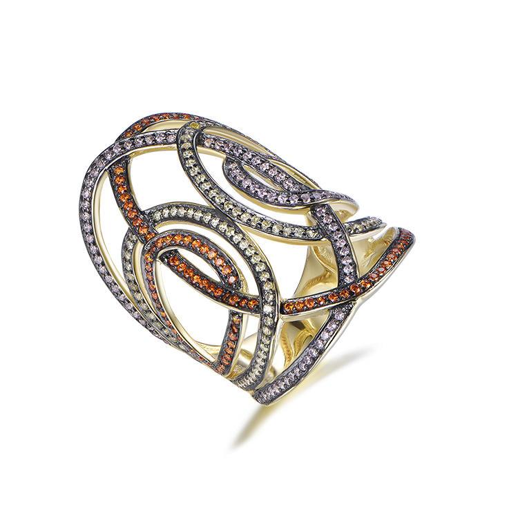 Luxury Personalized Custom Unisex Zircon Crystal Nets Shape Silver Ring