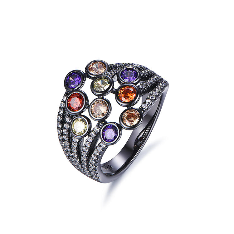 Durable high quality silver jewelry black gold color 925 sterling silver ring